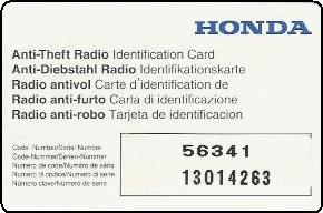 This Honda Radio Identification Card Contained The Code Number And The  Serial Number, But Does Not Differentiate Between The Two.